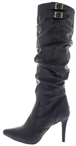 Brandi12 Blue Pointed Slouchy Stiletto Boot