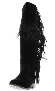 Brandibk1 Black Fringe Knee High Boot
