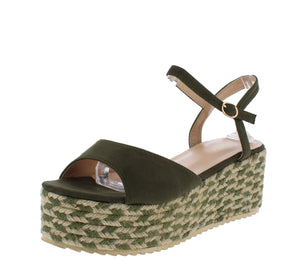 Brielle1 Olive Open Toe Slingback Ankle Strap Espadrille Wedge - Wholesale Fashion Shoes