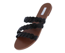 Load image into Gallery viewer, Britt11 Black Pu Braided Strappy Open Toe Flat Slide Sandal - Wholesale Fashion Shoes