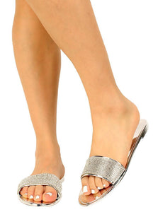 Bruner Silver Patent Rhinestone Open Toe Mule Slide Sandal - Wholesale Fashion Shoes ?id=16188270575660