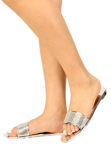 Bruner Silver Patent Rhinestone Open Toe Mule Slide Sandal - Wholesale Fashion Shoes ?id=16188270477356
