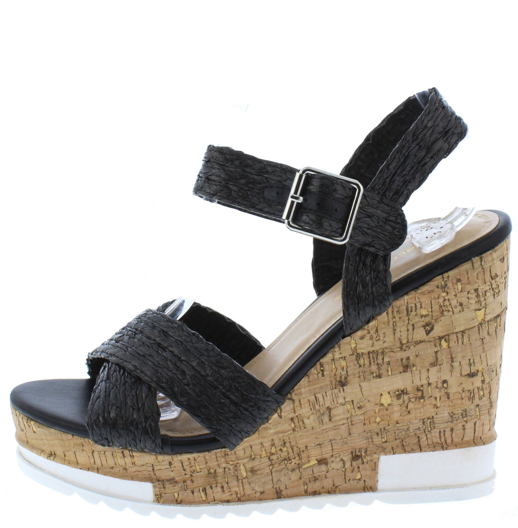 Bumper Black Braided Cross Strap Open Toe Cork Wedge - Wholesale Fashion Shoes ?id=16760912052268