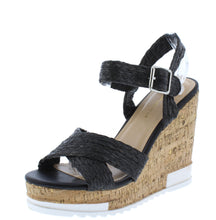 Load image into Gallery viewer, Bumper Black Braided Cross Strap Open Toe Cork Wedge - Wholesale Fashion Shoes ?id=16760912150572