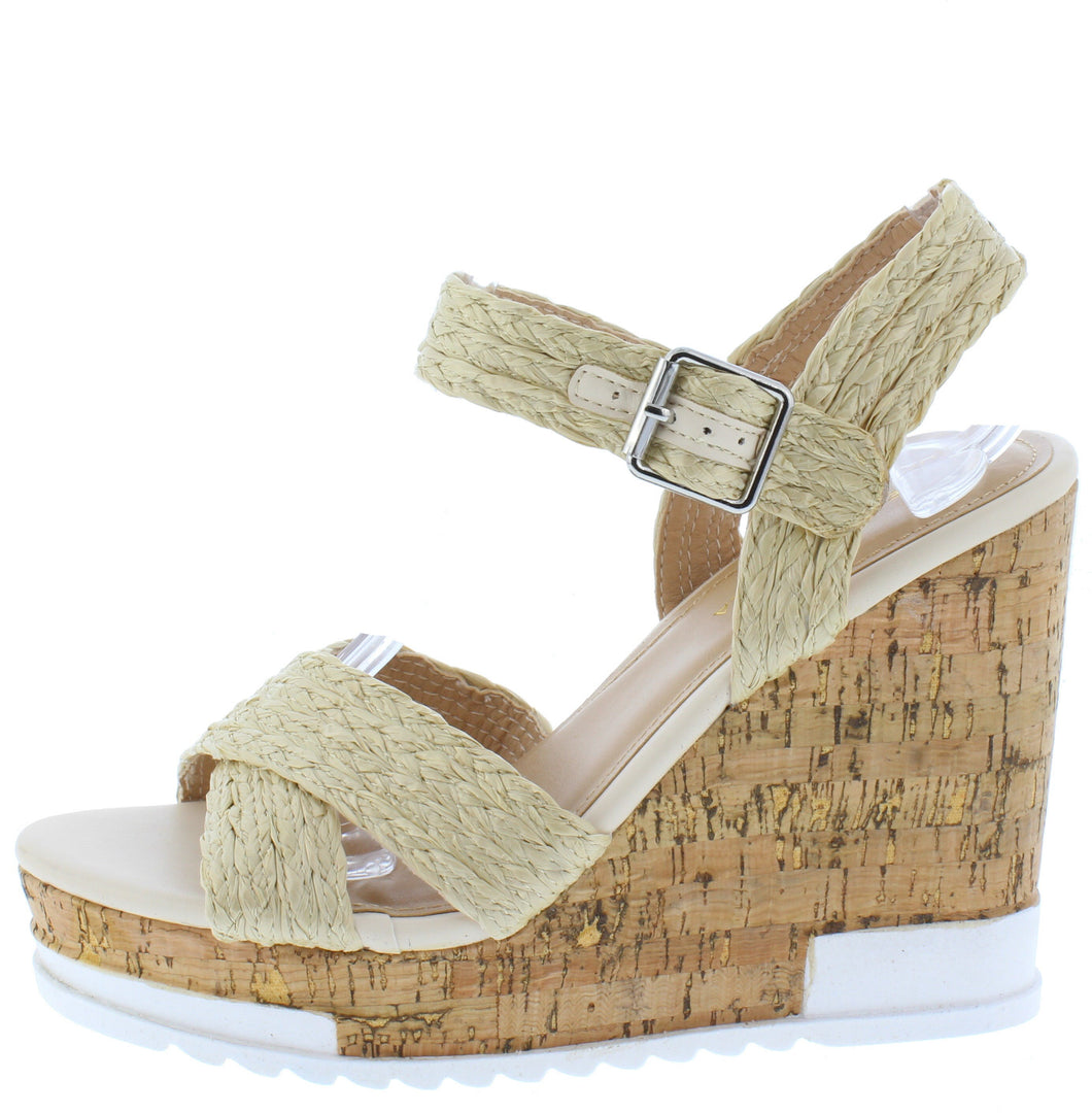 Bumper Natural Braided Cross Strap Open Toe Cork Wedge - Wholesale Fashion Shoes ?id=16760904220716
