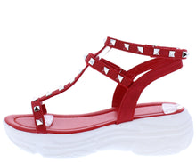 Load image into Gallery viewer, Amelia212 Red Studded Strappy Open Toe Tapered Heel