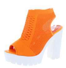Load image into Gallery viewer, Camila01 Orange Perforated Knit Cut Out Ankle Boot - Wholesale Fashion Shoes ?id=18108247212076