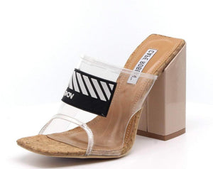 Camryn Clear Square Open Toe Vogue Lucite Mule Block Heel