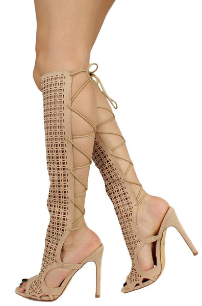 Cande Nude Laser Cut Panel Calf Wrap Stiletto Heel Boot