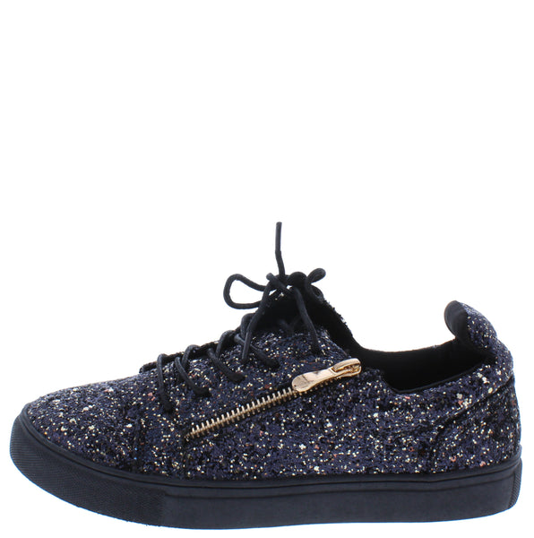 Ariana103 Black Sparkle Side Zip Lace Up Sneaker Flat
