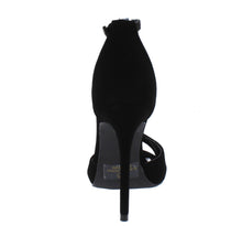 Load image into Gallery viewer, Chloe Black Peep Toe Ankle Strap Stiletto Heel