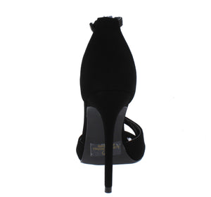 Chloe Black Peep Toe Ankle Strap Stiletto Heel