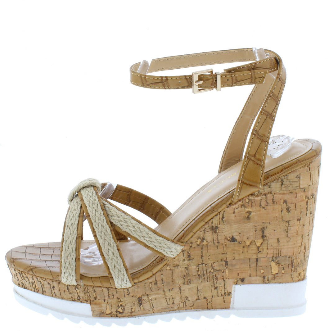 Cai Camel Espadrille Strappy Open Toe Platform Wedge - Wholesale Fashion Shoes