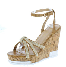 Load image into Gallery viewer, Cai Camel Espadrille Strappy Open Toe Platform Wedge - Wholesale Fashion Shoes