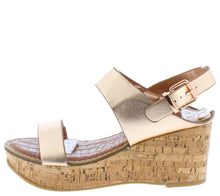 Load image into Gallery viewer, Calida Rose Gold Open Toe Slingback Platform Cork Wedge - Wholesale Fashion Shoes