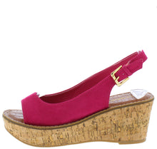Load image into Gallery viewer, Calvino Fuchsia Open Toe Slingback Platform Cork Wedge - Wholesale Fashion Shoes ?id=16745884385324