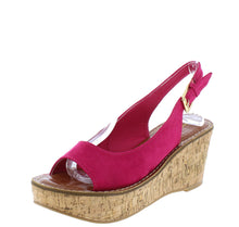 Load image into Gallery viewer, Calvino Fuchsia Open Toe Slingback Platform Cork Wedge - Wholesale Fashion Shoes ?id=16745884418092
