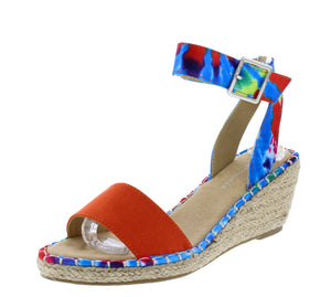Camaro Orange Open Toe Cut Out Ankle Strap Espadrille Wedge