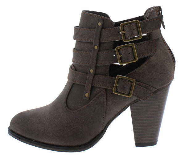 Camila62 Brown Distressed Multi Buckle Stacked Ankle Boot