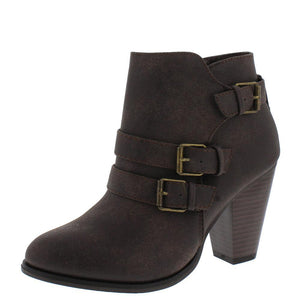 Camila64 Brown Distressed Multi Buckle Strap Stacked Ankle Boot - Wholesale Fashion Shoes ?id=13120162857004
