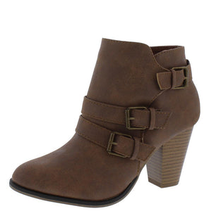 Camila64 Tan Distressed Multi Buckle Strap Stacked Ankle Boot - Wholesale Fashion Shoes ?id=13120164397100
