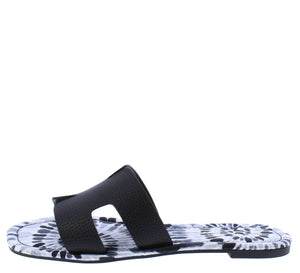 Camo Black Cut Out Square Open Toe Mule Slide Sandal