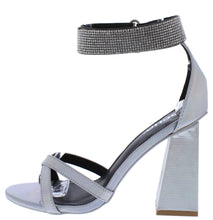 Load image into Gallery viewer, Cancun02 Silver Pu Open Toe Sparkle Ankle Strap Angled Heel - Wholesale Fashion Shoes ?id=15773714677804