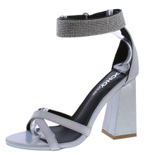 Load image into Gallery viewer, Cancun02 Silver Pu Open Toe Sparkle Ankle Strap Angled Heel - Wholesale Fashion Shoes ?id=15773714645036