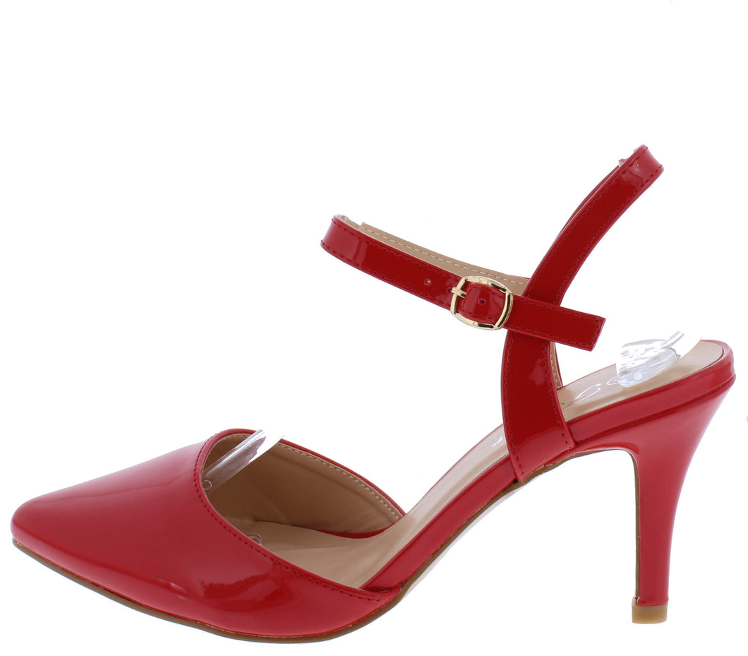 Canty02 Red Patent Pointed Toe Slingback Ankle Strap Short Heel - Wholesale Fashion Shoes