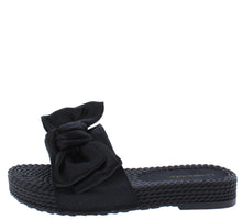 Load image into Gallery viewer, Carmel Black Tied Bow Open Toe Mule Slide Flat Sandal - Wholesale Fashion Shoes ?id=18091919999020