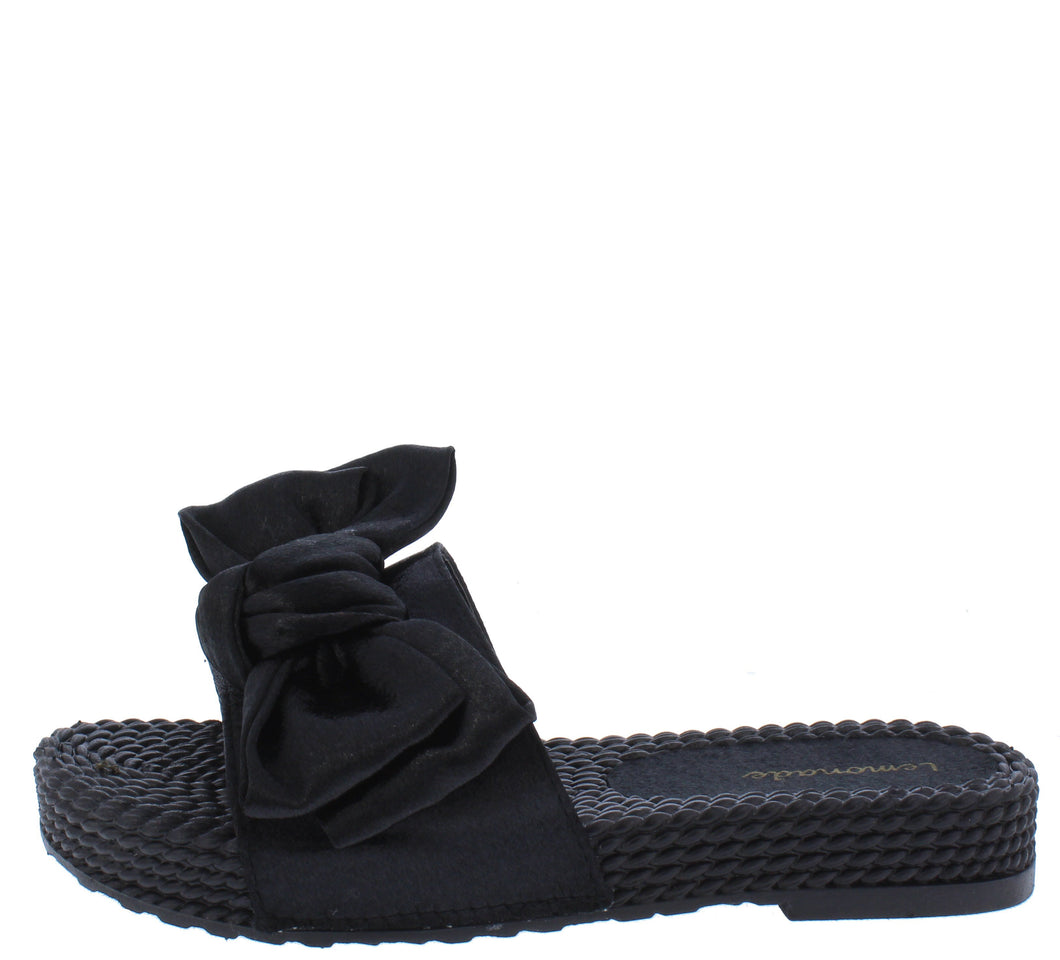 Carmel Black Tied Bow Open Toe Mule Slide Flat Sandal - Wholesale Fashion Shoes ?id=18091919999020