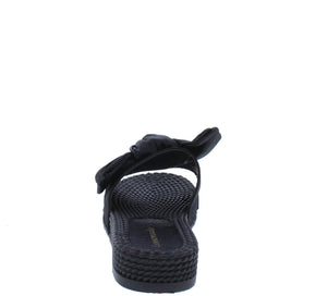 Carmel Black Tied Bow Open Toe Mule Slide Flat Sandal - Wholesale Fashion Shoes ?id=18091919933484