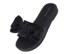Load image into Gallery viewer, Carmel Black Tied Bow Open Toe Mule Slide Flat Sandal - Wholesale Fashion Shoes ?id=18091919966252