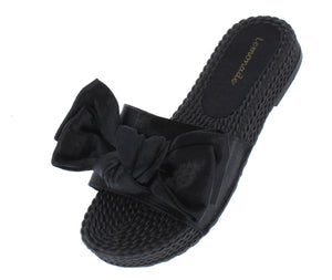 Carmel Black Tied Bow Open Toe Mule Slide Flat Sandal - Wholesale Fashion Shoes ?id=18091919966252