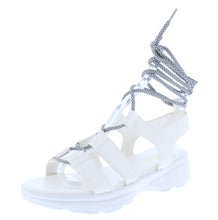 Load image into Gallery viewer, Catch24 White Open To Ghillie Lace Up Walking Sandal - Wholesale Fashion Shoes