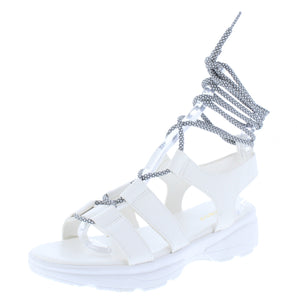 Catch24 White Open To Ghillie Lace Up Walking Sandal - Wholesale Fashion Shoes