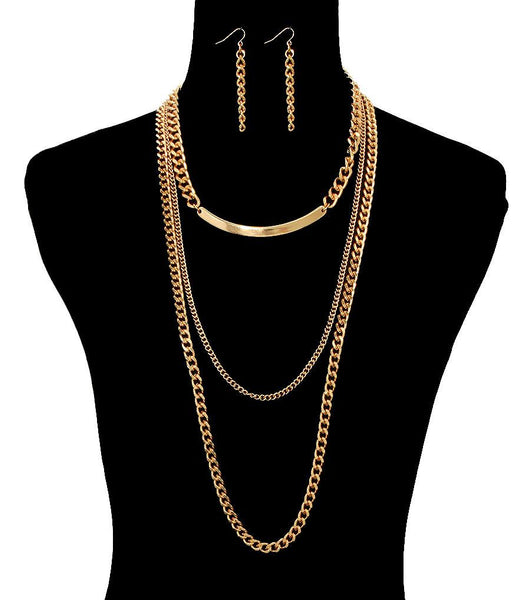 CHAIN LAYERED NECKLACE AND EARRING SET