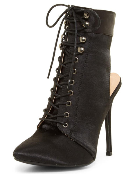 Julia090 Black Satin Pointed Toe Lace Up Cut Out Stiletto Boot