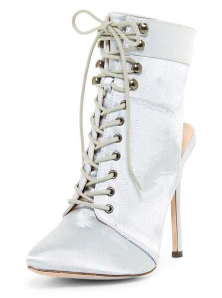 Julia090 Silver Satin Pointed Toe Lace Up Cut Out Stiletto Boot