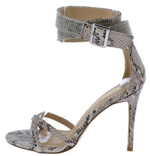 Load image into Gallery viewer, Chelsea Snake Pu  Open Toe Rhinestone Ankle Strap Heel