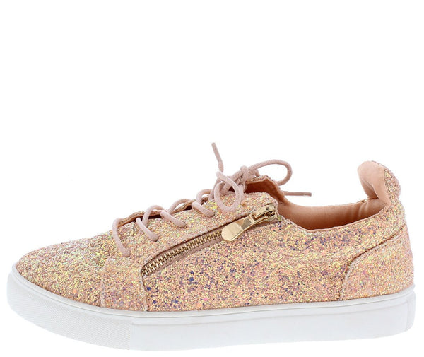 Ariana103 Pink Sparkle Side Zip Lace Up Sneaker Flat - Wholesale Fashion Shoes ?id=12043202166849