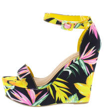 Load image into Gallery viewer, Choice98 Yellow Floral Open Toe Ankle Strap Tall Wedge - Wholesale Fashion Shoes ?id=16929306673196