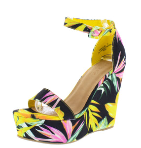 Choice98 Yellow Floral Open Toe Ankle Strap Tall Wedge - Wholesale Fashion Shoes ?id=16929306509356