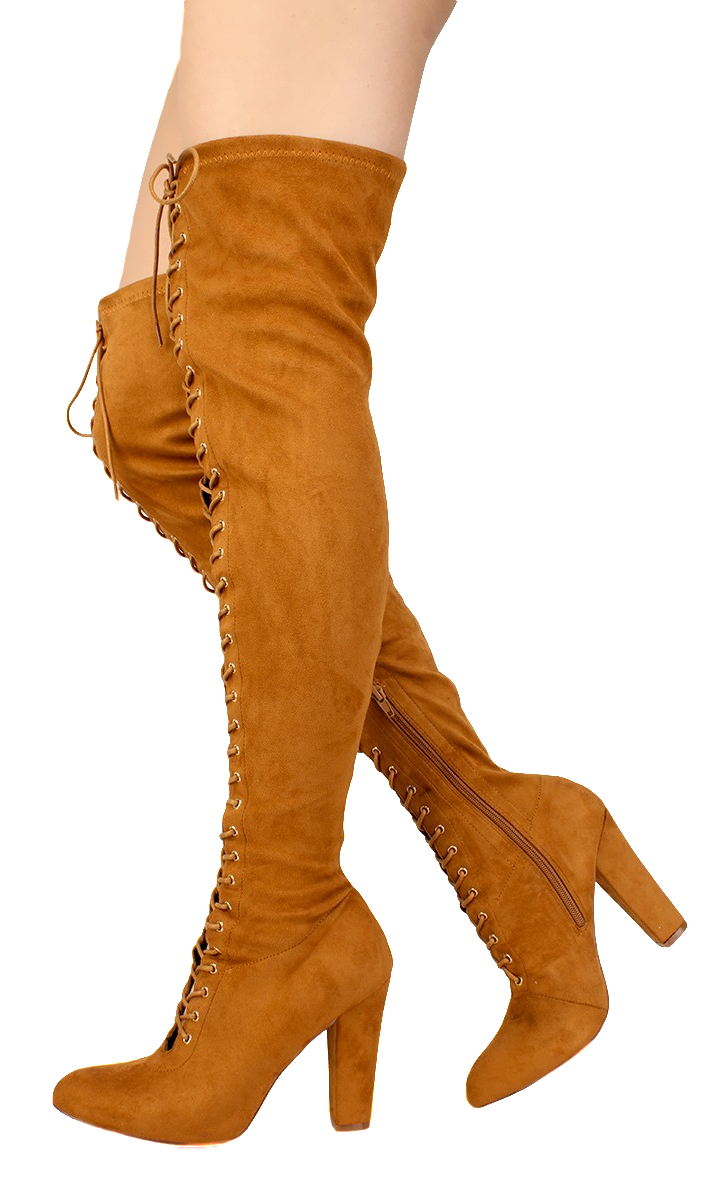 Cibel Tan Suede Lace Up Thigh High Pull Up Boot