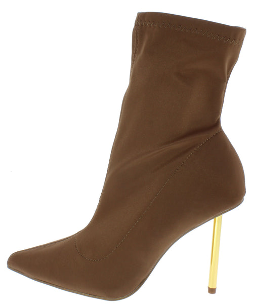 Shane156 Brown Pointed Toe Gold Stiletto Boot - Wholesale Fashion Shoes