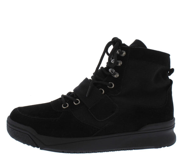 Classic4 Black Lace Up Canvas Cross Strap Boot - Wholesale Fashion Shoes ?id=13429407711276