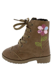 Load image into Gallery viewer, Comboot521ks Tan Multi Fabric Stitch Flower Infant Boot