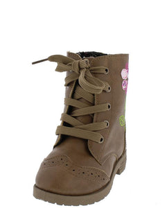 Comboot521ks Tan Multi Fabric Stitch Flower Infant Boot