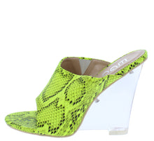 Load image into Gallery viewer, Cotton Candy Green Snake Peep Toe Slide On Lucite Wedge