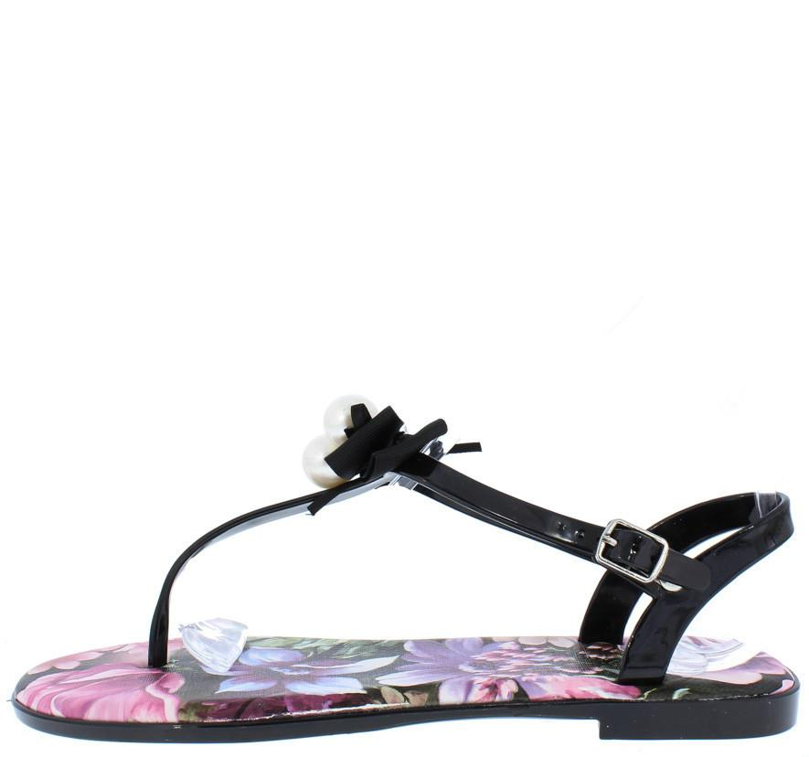 Cove01 Black Bow Pearl Flower Thong Sandal - Wholesale Fashion Shoes ?id=22217049805